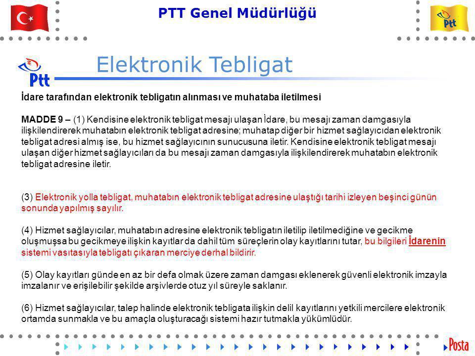 49 PTT Genel Müdürlüğü Teknik İşler ve Otomasyon Dairesi Başkanlığı Tebligat Çıkarmaya Yetkili Merci 1- e-Tebligat gönderici tarafından e-imza ile imzalanır ve web servis ya da web-mail üzerinde PTT sunucusuna gönderilir 2 – Kullanıcı doğrulama ve güvenlik kontrolü 3 – gönderi kabul delili 5 Alıcının e-Tebligat Hesabına teslimat 6 – teslimat delili PTT Tebliğ Edilen Alıcı 4- e-imzalama zarflama, zaman damgalama ve gönderim 7 – e-imza doğrulama ve okuma 8 – okundu delili