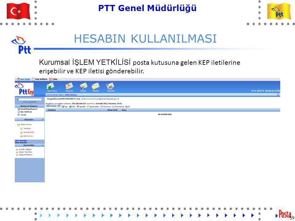 59 PTT Genel Müdürlüğü Teknik İşler ve Otomasyon Dairesi Başkanlığı HESABIN KULLANILMASI 59 Kurumsal İŞLEM YETKİLİSİ posta kutusuna gelen KEP iletilerine erişebilir ve KEP iletisi gönderebilir.