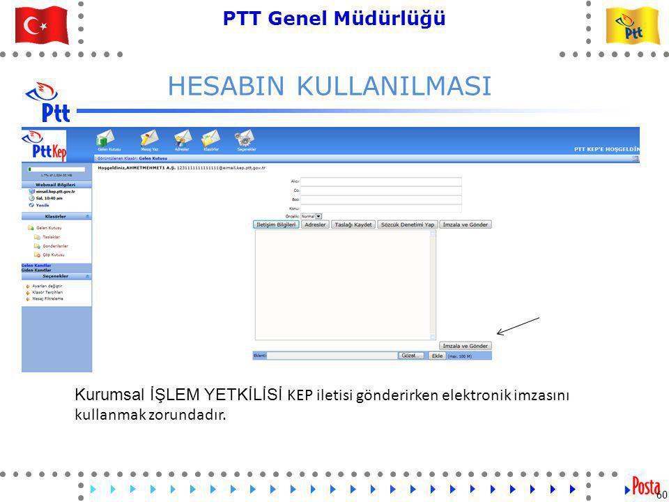 60 PTT Genel Müdürlüğü Teknik İşler ve Otomasyon Dairesi Başkanlığı HESABIN KULLANILMASI 60 Kurumsal İŞLEM YETKİLİSİ KEP iletisi gönderirken elektronik imzasını kullanmak zorundadır.