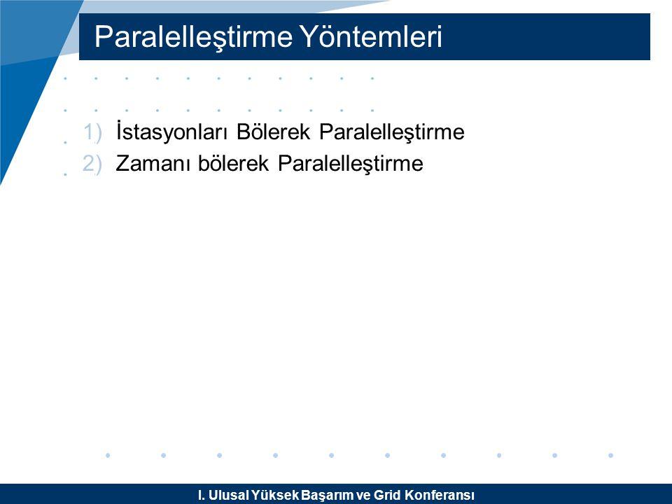 I. Ulusal Yüksek Başarım ve Grid Konferansı Paralelleştirme Yöntemleri 1)İstasyonları Bölerek Paralelleştirme 2)Zamanı bölerek Paralelleştirme