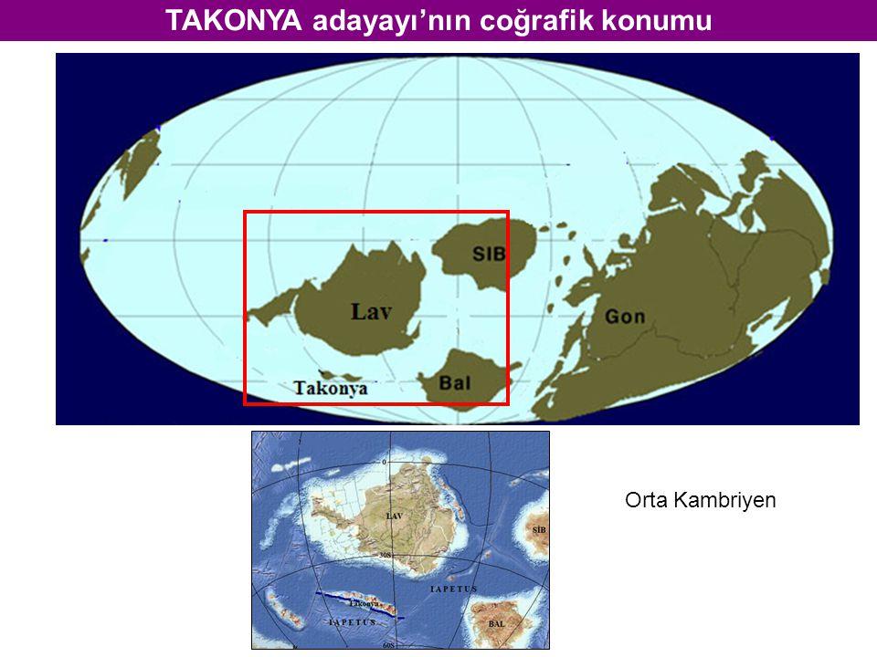 TAKONYA adayayı'nın coğrafik konumu Orta Kambriyen