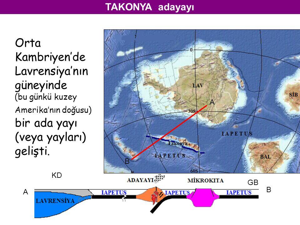 A B A B Orta Kambriyen'de Lavrensiya'nın güneyinde (bu günkü kuzey Amerika'nın doğusu) bir ada yayı (veya yayları) gelişti. TAKONYA adayayı KD GB