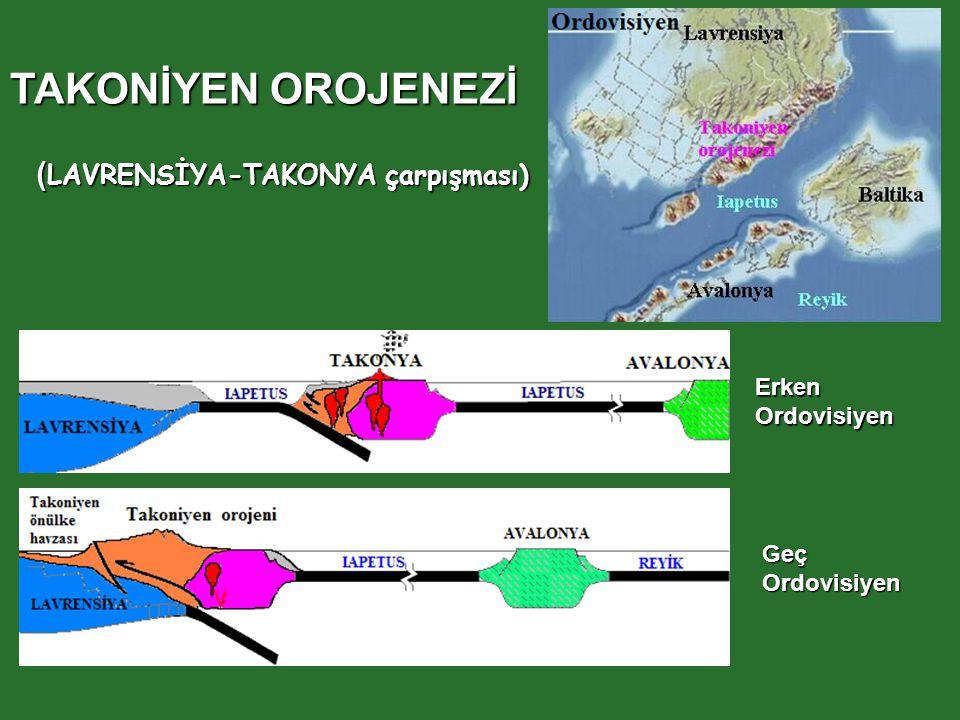 ErkenOrdovisiyen GeçOrdovisiyen TAKONİYEN OROJENEZİ ( LAVRENSİYA-TAKONYA çarpışması)