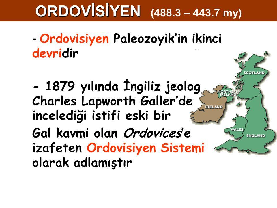 - Ordovisiyen Paleozoyik'in ikinci devridir - 1879 yılında İngiliz jeolog Charles Lapworth Galler'de incelediği istifi eski bir Gal kavmi olan Ordovices'e izafeten Ordovisiyen Sistemi olarak adlamıştır ORDOVİSİYEN ORDOVİSİYEN (488.3 – 443.7 my)