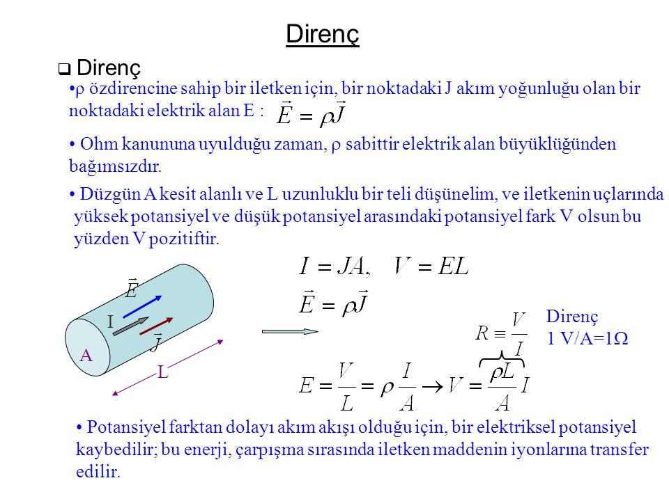 Direnç  Direnç •ρ özdirencine sahip bir iletken için, bir noktadaki J akım yoğunluğu olan bir noktadaki elektrik alan E : • Ohm kanununa uyulduğu zam