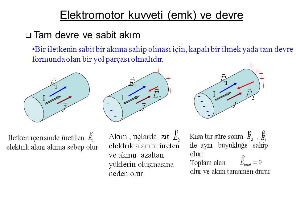 Elektromotor kuvveti (emk) ve devre  Tam devre ve sabit akım •Bir iletkenin sabit bir akıma sahip olması için, kapalı bir ilmek yada tam devre formun