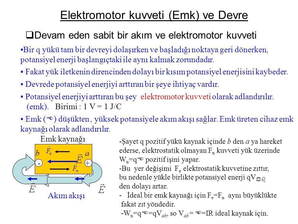 Elektromotor kuvveti (Emk) ve Devre  Devam eden sabit bir akım ve elektromotor kuvveti •Bir q yükü tam bir devreyi dolaşırken ve başladığı noktaya ge