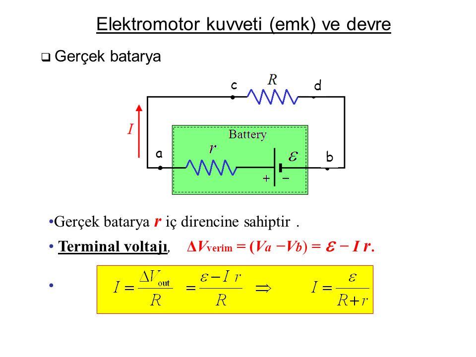 Elektromotor kuvveti (emk) ve devre  Gerçek batarya b r +  I a d R c − Battery •Gerçek batarya r iç direncine sahiptir. • Terminal voltajı, ΔV verim