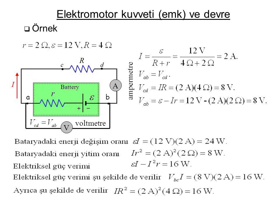 Elektromotor kuvveti (emk) ve devre  Örnek V A voltmetre ampermetre ba