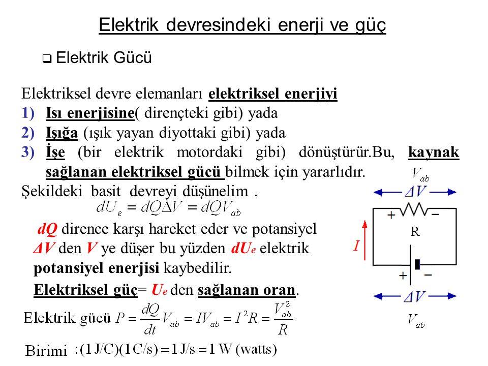 Elektrik devresindeki enerji ve güç  Elektrik Gücü Elektriksel devre elemanları elektriksel enerjiyi 1)Isı enerjisine( dirençteki gibi) yada 2)Işığa