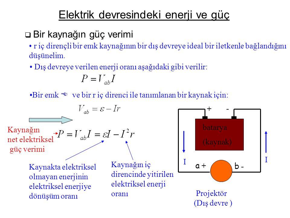 Elektrik devresindeki enerji ve güç  Bir kaynağın güç verimi • r iç dirençli bir emk kaynağının bir dış devreye ideal bir iletkenle bağlandığını düşü