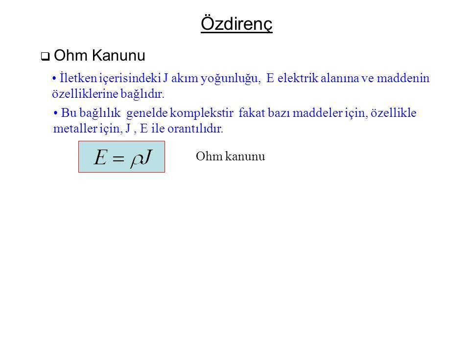 Özdirenç  Ohm Kanunu • İletken içerisindeki J akım yoğunluğu, E elektrik alanına ve maddenin özelliklerine bağlıdır. • Bu bağlılık genelde kompleksti