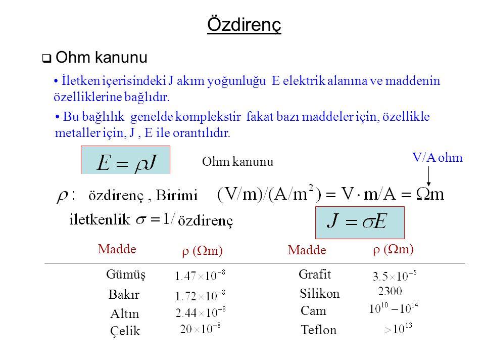 Özdirenç  Ohm kanunu • İletken içerisindeki J akım yoğunluğu E elektrik alanına ve maddenin özelliklerine bağlıdır. • Bu bağlılık genelde komplekstir
