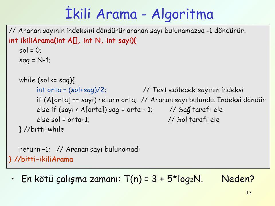 13 İkili Arama - Algoritma // Aranan sayının indeksini döndürür aranan sayı bulunamazsa -1 döndürür. int ikiliArama(int A[], int N, int sayi){ sol = 0