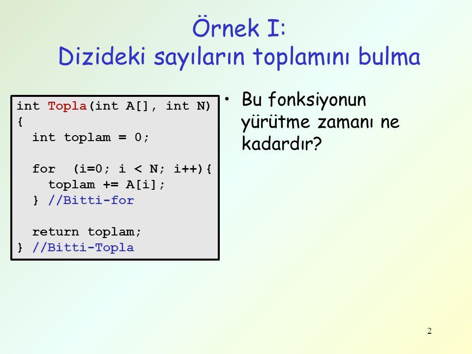 3 Örnek I: Dizideki sayıların toplamını bulma İşlem sayısı 1 N N 1 -------- Toplam: 1 + N + N + 1 = 2N + 2 •Çalışma zamanı: T(N) = 2N+2 –N dizideki sayı sayısı int Topla(int A[], int N) { int topla = 0; for (i=0; i < N; i++){ topla += A[i]; } //Bitti-for return topla; } //Bitti-Topla