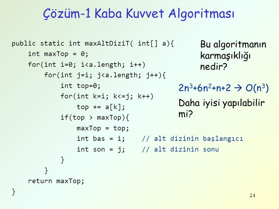 Çözüm-1 Kaba Kuvvet Algoritması public static int maxAltDiziT( int[] a){ int maxTop = 0; for(int i=0; i<a.length; i++) for(int j=i; j<a.length; j++){