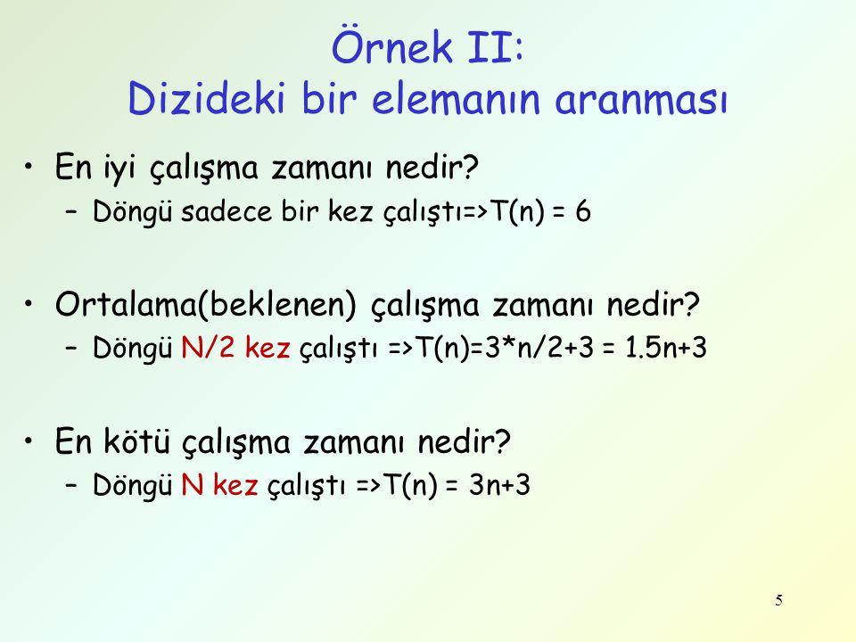 Çözüm-3 Doğrusal Algoritma public static int maxAltDiziT(int[] a) { int maxTop = 0; int top = 0; for (int i=0, j=0; j<=a.length; j++) { top += a[j]; if (top > maxTop) { maxTop = top; int bas = i; // alt dizinin başlangıcı int son = j; // alt dizinin sonu } else if (top<0){ i = j + 1; top = 0; } return maxTop; } 26 Bu algoritmanın karmaşıklığı nedir.