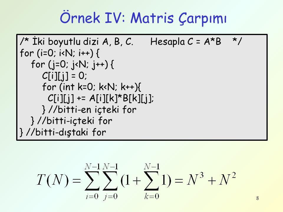 8 Örnek IV: Matris Çarpımı /* İki boyutlu dizi A, B, C. Hesapla C = A*B */ for (i=0; i<N; i++) { for (j=0; j<N; j++) { C[i][j] = 0; for (int k=0; k<N;