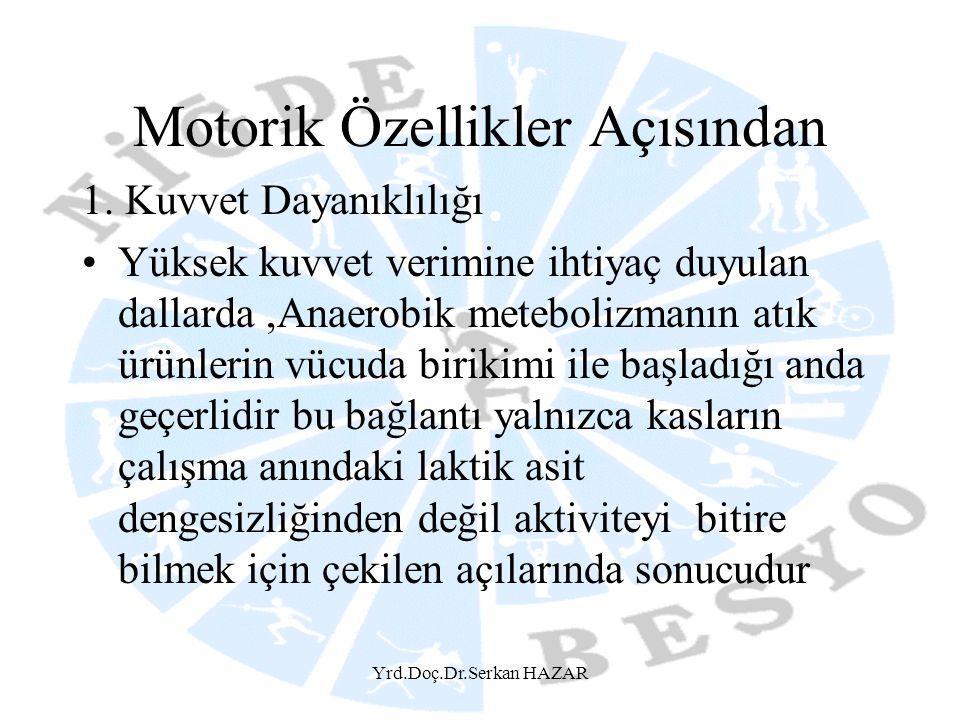 Yrd.Doç.Dr.Serkan HAZAR Motorik Özellikler Açısından 1. Kuvvet Dayanıklılığı •Yüksek kuvvet verimine ihtiyaç duyulan dallarda,Anaerobik metebolizmanın