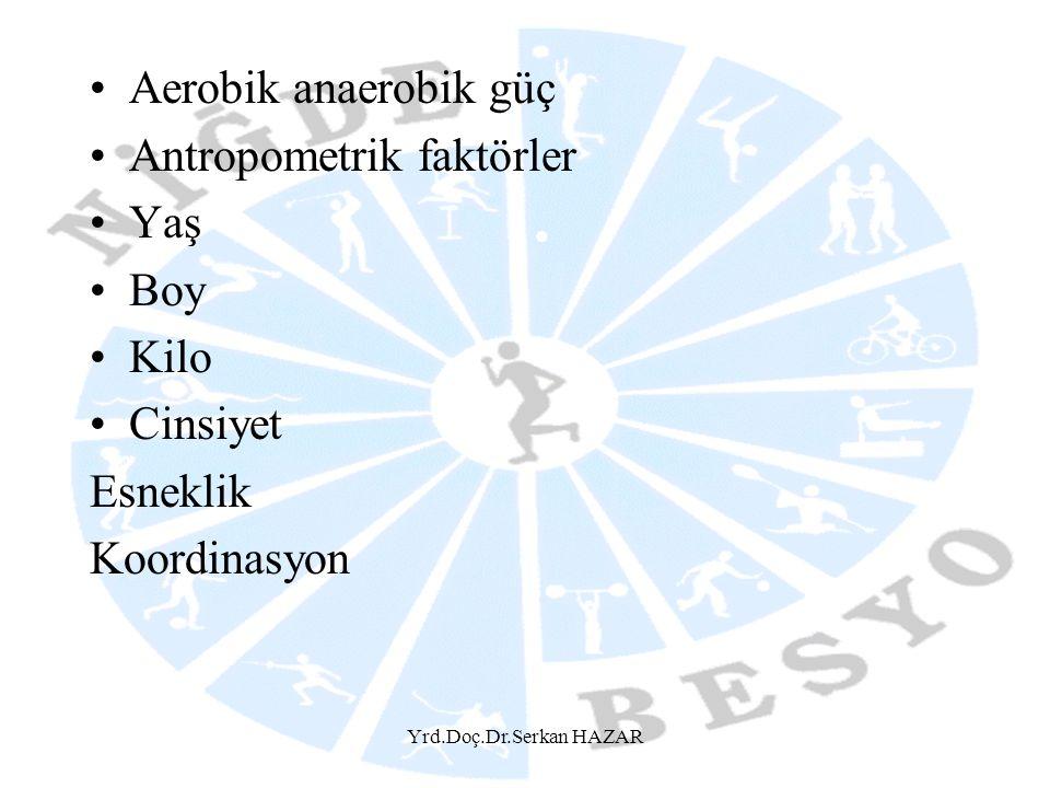 Yrd.Doç.Dr.Serkan HAZAR •Aerobik anaerobik güç •Antropometrik faktörler •Yaş •Boy •Kilo •Cinsiyet Esneklik Koordinasyon