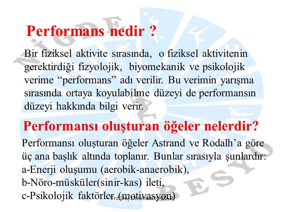 Yrd.Doç.Dr.Serkan HAZAR Performans nedir ? Bir fiziksel aktivite sırasında, o fiziksel aktivitenin gerektirdiği fizyolojik, biyomekanik ve psikolojik