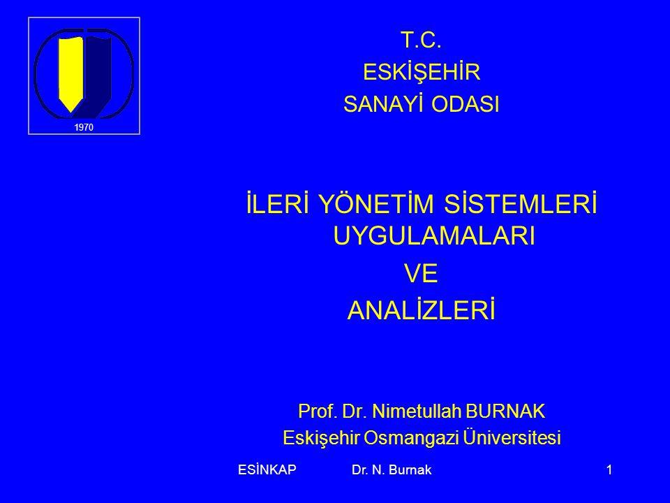 ESİNKAP Dr. N. Burnak1 T.C. ESKİŞEHİR SANAYİ ODASI İLERİ YÖNETİM SİSTEMLERİ UYGULAMALARI VE ANALİZLERİ Prof. Dr. Nimetullah BURNAK Eskişehir Osmangazi