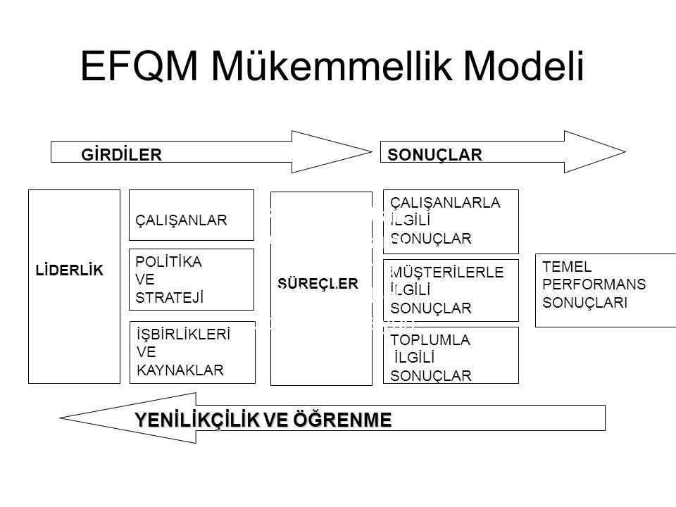 ESİNKAP Dr. N. Burnak34 EFQM Mükemmellik Modeli LİDERLİK POLİTİKA VE STRATEJİ ÇALIŞANLAR İŞBİRLİKLERİ VE KAYNAKLAR MÜŞTERİLERLE İLGİLİ SONUÇLAR ÇALIŞA