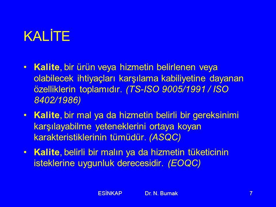 ESİNKAP Dr. N. Burnak7 KALİTE •Kalite, bir ürün veya hizmetin belirlenen veya olabilecek ihtiyaçları karşılama kabiliyetine dayanan özelliklerin topla