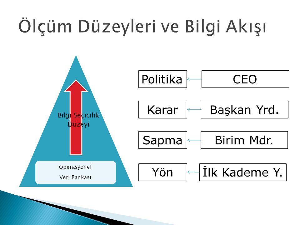 Operasyonel Veri Bankası Bilgi Seçicilik Düzeyi Politika Karar Sapma Yön CEO Başkan Yrd. Birim Mdr. İlk Kademe Y.