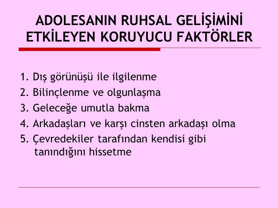 ADOLESANIN RUHSAL GELİŞİMİNİ ETKİLEYEN KORUYUCU FAKTÖRLER 1.