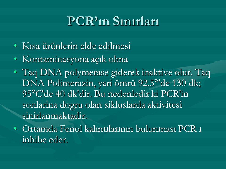 PCR'ın Sınırları •Kısa ürünlerin elde edilmesi •Kontaminasyona açık olma •Taq DNA polymerase giderek inaktive olur. Taq DNA Polimerazin, yari ömrü 92.