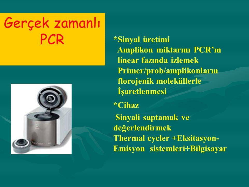 Gerçek zamanlı PCR *Sinyal üretimi Amplikon miktarını PCR'ın linear fazında izlemek Primer/prob/amplikonların florojenik moleküllerle İşaretlenmesi *C