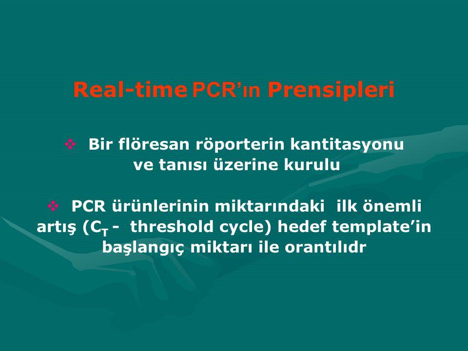 Real-time PCR'ın Prensipleri  Bir flöresan röporterin kantitasyonu ve tanısı üzerine kurulu  PCR ürünlerinin miktarındaki ilk önemli artış (C T - th