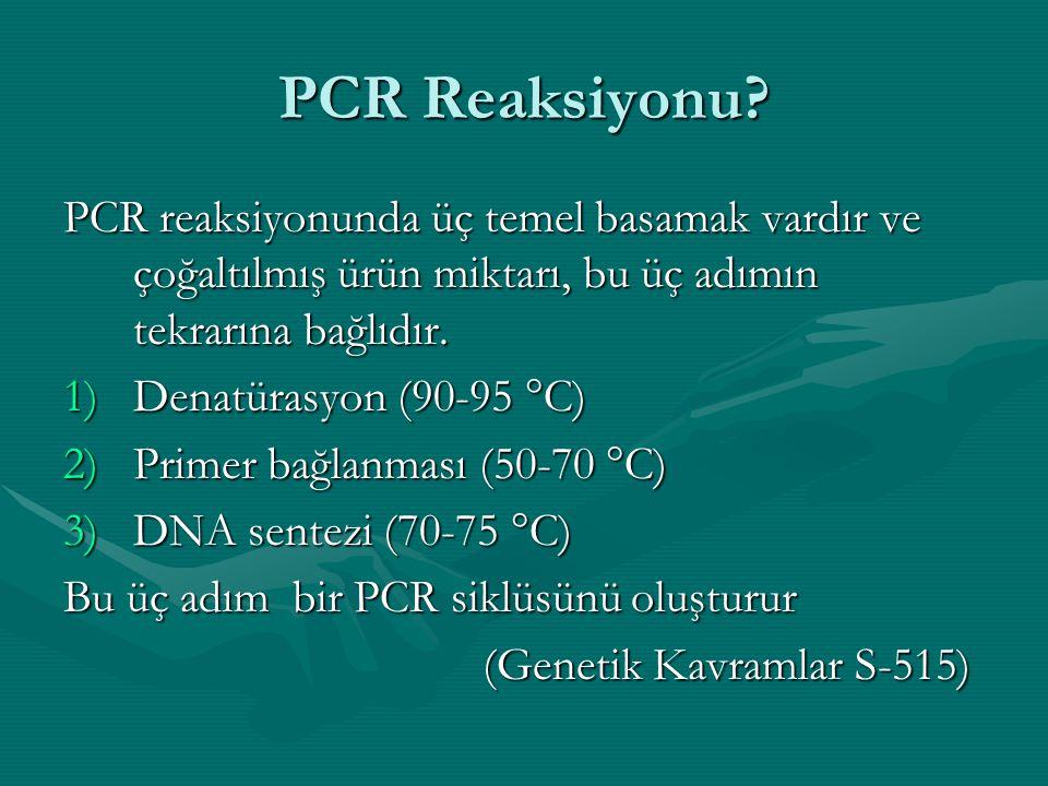 PCR Reaksiyonu? PCR reaksiyonunda üç temel basamak vardır ve çoğaltılmış ürün miktarı, bu üç adımın tekrarına bağlıdır. 1)Denatürasyon (90-95 °C) 2)Pr