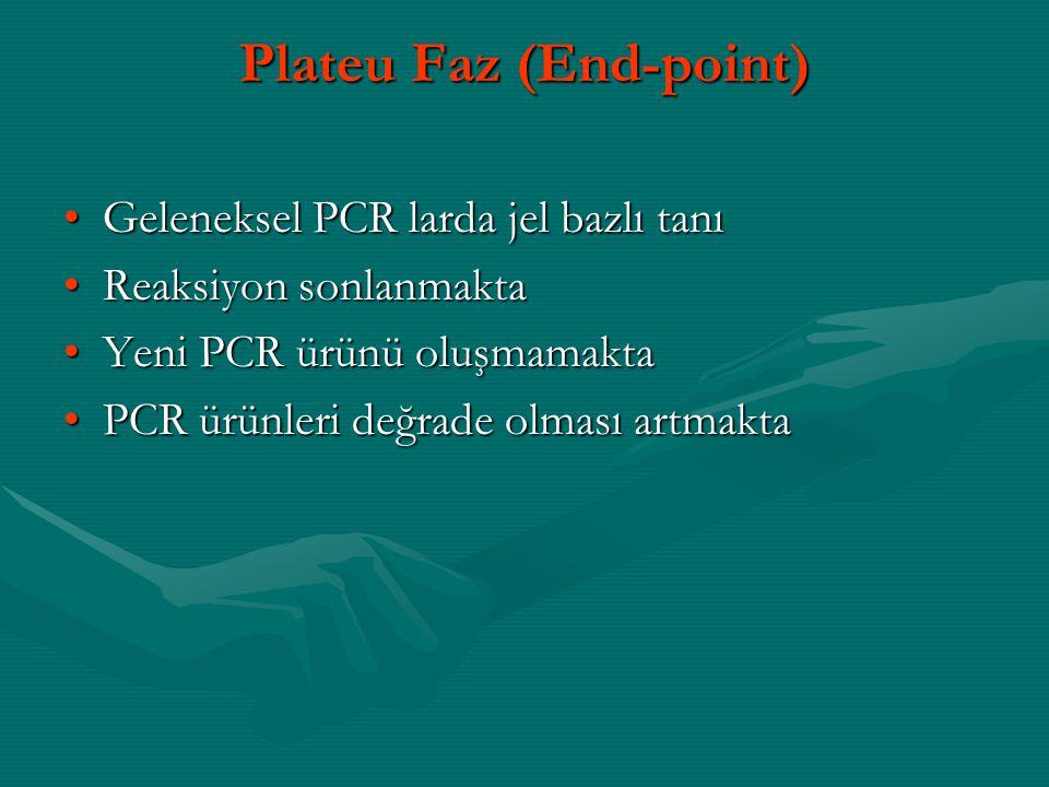 Plateu Faz (End-point) •Geleneksel PCR larda jel bazlı tanı •Reaksiyon sonlanmakta •Yeni PCR ürünü oluşmamakta •PCR ürünleri değrade olması artmakta