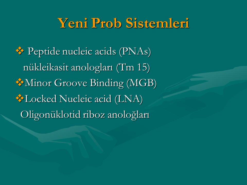 Yeni Prob Sistemleri  Peptide nucleic acids (PNAs) nükleikasit anologları (Tm 15) nükleikasit anologları (Tm 15)  Minor Groove Binding (MGB)  Locke