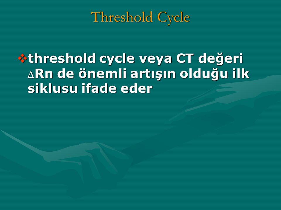 Threshold Cycle  threshold cycle veya CT değeri  Rn de önemli artışın olduğu ilk siklusu ifade eder