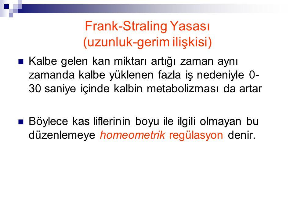 Frank-Straling Yasası (uzunluk-gerim ilişkisi)  Kalbe gelen kan miktarı artığı zaman aynı zamanda kalbe yüklenen fazla iş nedeniyle 0- 30 saniye için