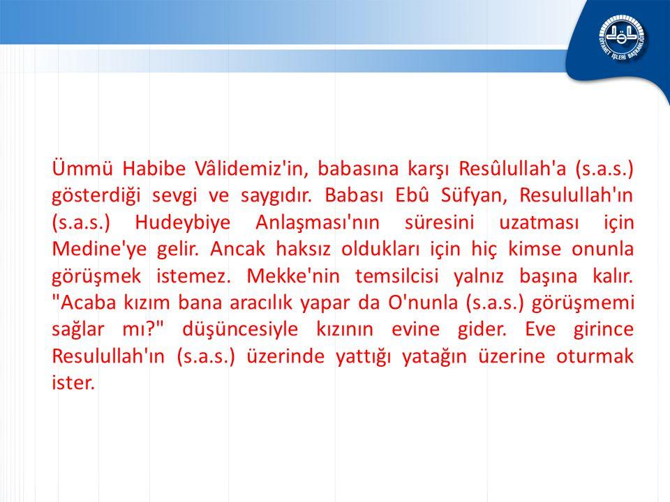 Ümmü Habibe Vâlidemiz'in, babasına karşı Resûlullah'a (s.a.s.) gösterdiği sevgi ve saygıdır. Babası Ebû Süfyan, Resulullah'ın (s.a.s.) Hudeybiye Anlaş