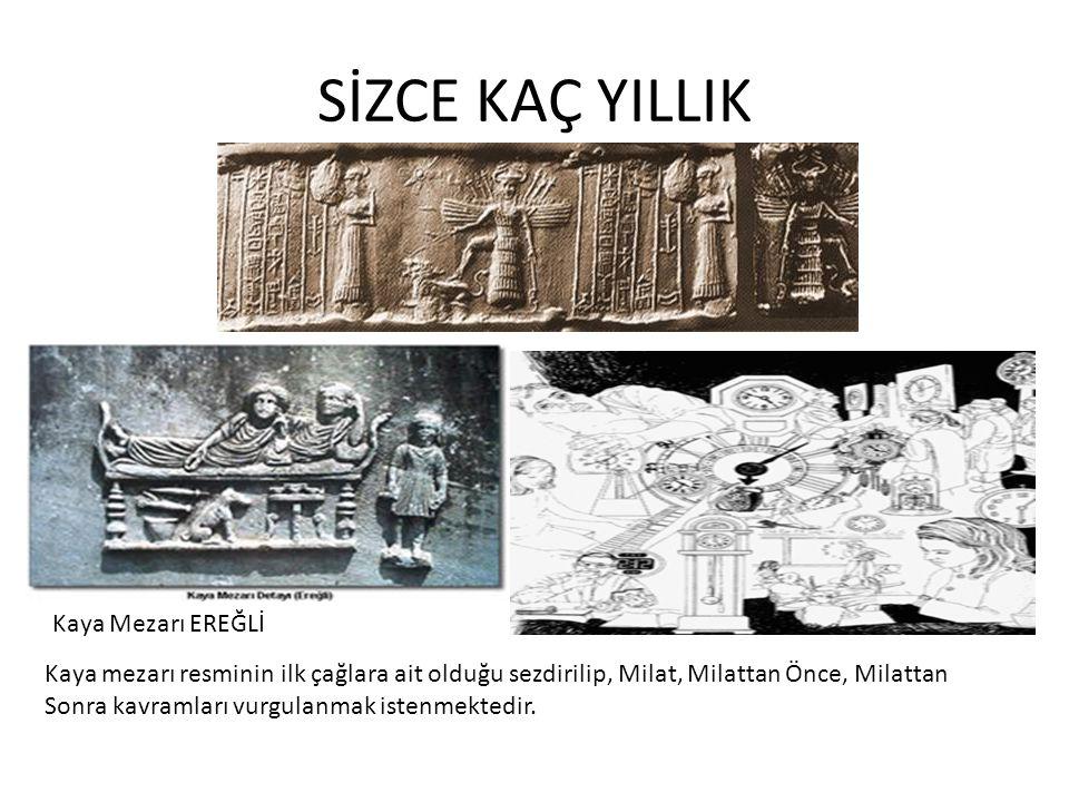 SİZCE KAÇ YILLIK Kaya Mezarı EREĞLİ Kaya mezarı resminin ilk çağlara ait olduğu sezdirilip, Milat, Milattan Önce, Milattan Sonra kavramları vurgulanmak istenmektedir.