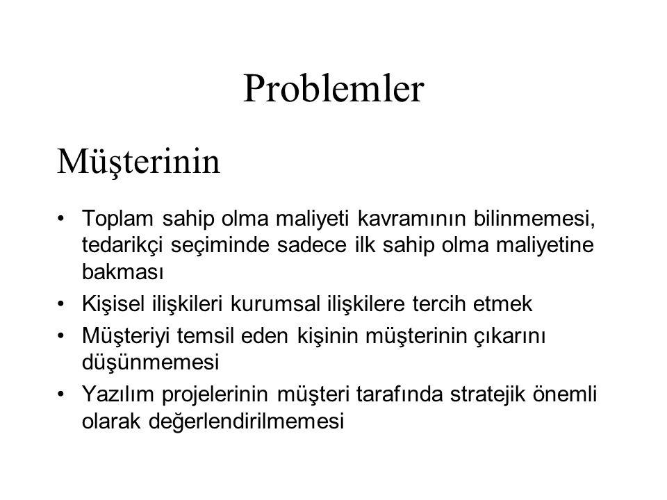 Problemler •Toplam sahip olma maliyeti kavramının bilinmemesi, tedarikçi seçiminde sadece ilk sahip olma maliyetine bakması •Kişisel ilişkileri kurums