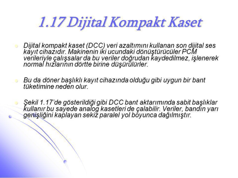 1.17 Dijital Kompakt Kaset  Dijital kompakt kaset (DCC) veri azaltımını kullanan son dijital ses kayıt cihazıdır. Makinenin iki ucundaki dönüştürücül