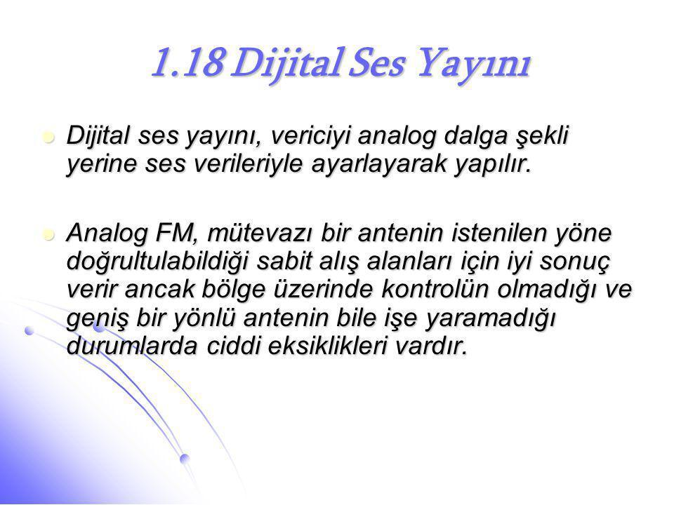 1.18 Dijital Ses Yayını  Dijital ses yayını, vericiyi analog dalga şekli yerine ses verileriyle ayarlayarak yapılır.  Analog FM, mütevazı bir anteni