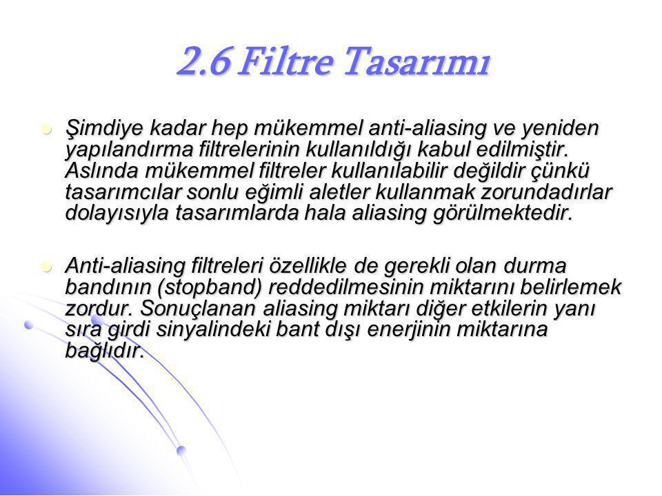 2.6 Filtre Tasarımı  Şimdiye kadar hep mükemmel anti-aliasing ve yeniden yapılandırma filtrelerinin kullanıldığı kabul edilmiştir. Aslında mükemmel f