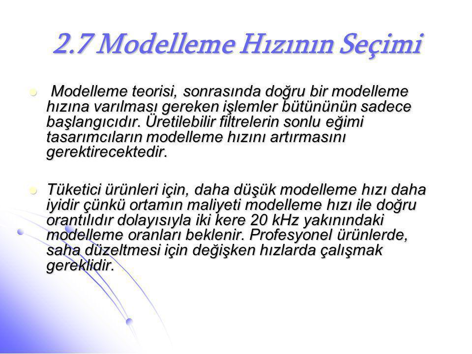 2.7 Modelleme Hızının Seçimi  Modelleme teorisi, sonrasında doğru bir modelleme hızına varılması gereken işlemler bütününün sadece başlangıcıdır. Üre