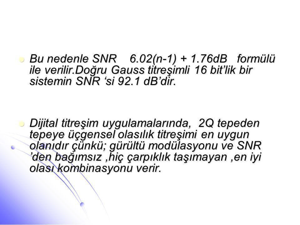  Bu nedenle SNR 6.02(n-1) + 1.76dB formülü ile verilir.Doğru Gauss titreşimli 16 bit'lik bir sistemin SNR 'si 92.1 dB'dir.  Dijital titreşim uygulam