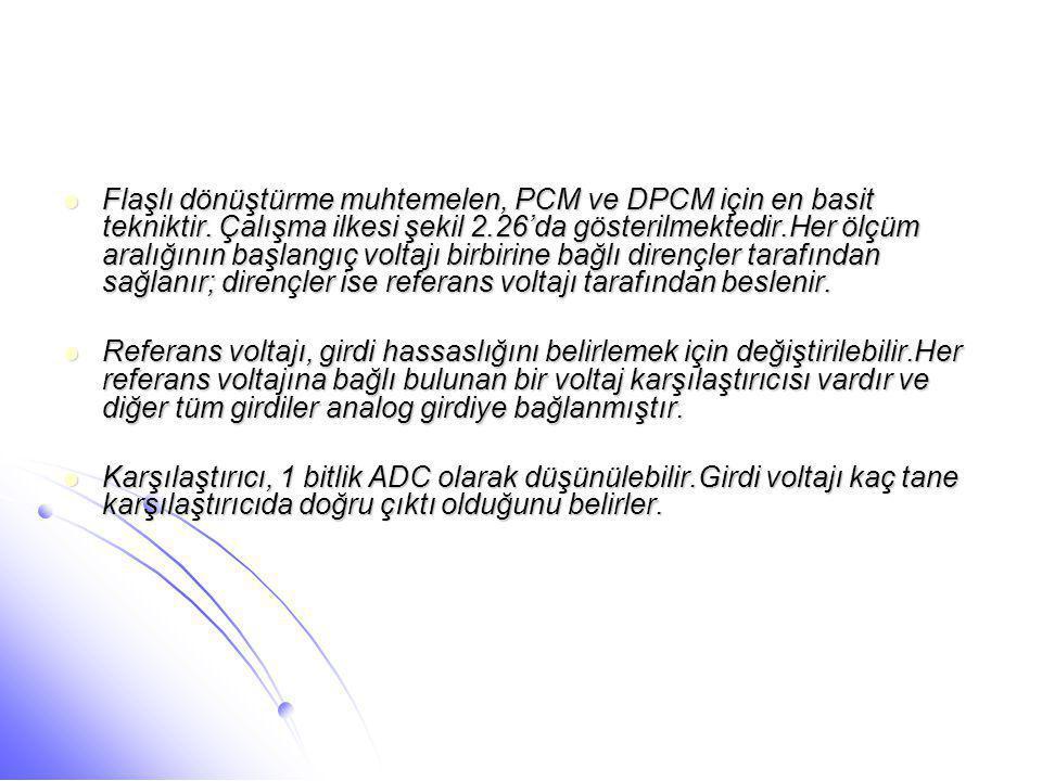  Flaşlı dönüştürme muhtemelen, PCM ve DPCM için en basit tekniktir. Çalışma ilkesi şekil 2.26'da gösterilmektedir.Her ölçüm aralığının başlangıç volt