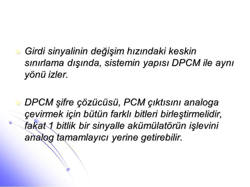  Girdi sinyalinin değişim hızındaki keskin sınırlama dışında, sistemin yapısı DPCM ile aynı yönü izler.  DPCM şifre çözücüsü, PCM çıktısını analoga