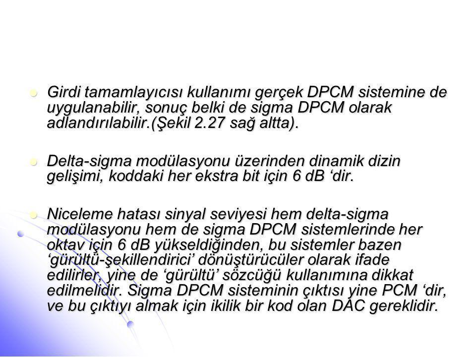  Girdi tamamlayıcısı kullanımı gerçek DPCM sistemine de uygulanabilir, sonuç belki de sigma DPCM olarak adlandırılabilir.(Şekil 2.27 sağ altta).  De