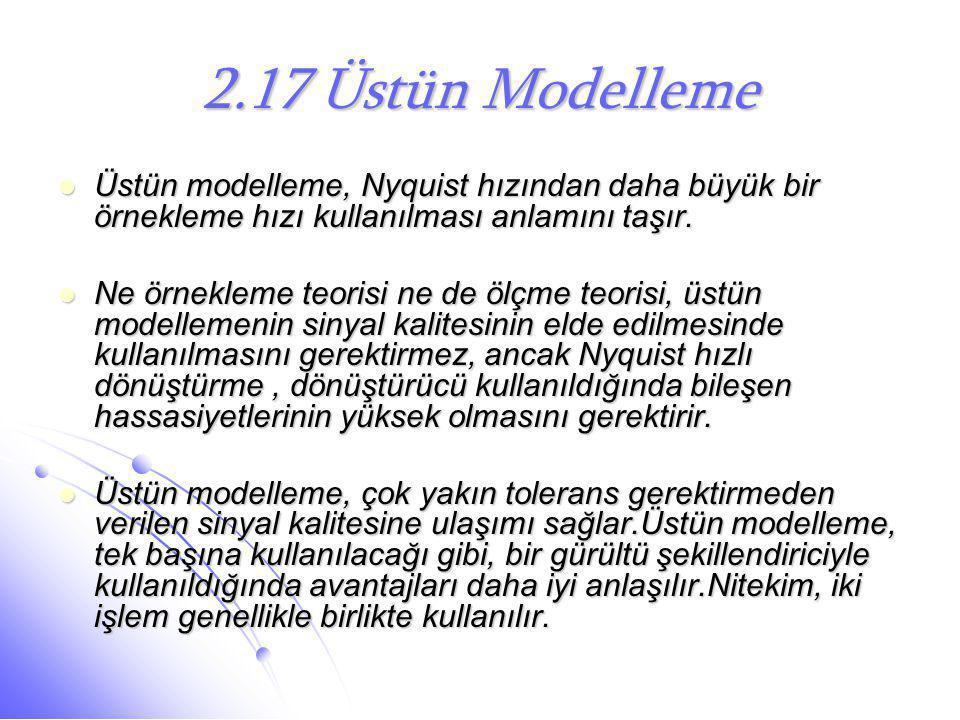 2.17 Üstün Modelleme  Üstün modelleme, Nyquist hızından daha büyük bir örnekleme hızı kullanılması anlamını taşır.  Ne örnekleme teorisi ne de ölçme